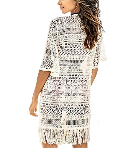 Womens Crochet Fringe Beach Dress Tassels Top Swimsuit Cover Ups Kaftan Top (One size, 3331)