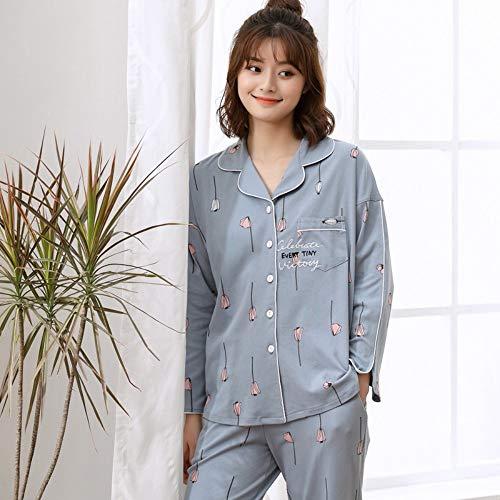 Signore Per Impostare Tengtengcai Nightwear Cotoon Xl La Sleepwear Manica M Lunga Donne Pigiama Molla Impostato qw7Pqx8B