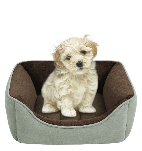 JLA Pets Soft Touch Celedon Faux Suede Reversible Rectangular Cuddler, 21 by 25-Inch, My Pet Supplies