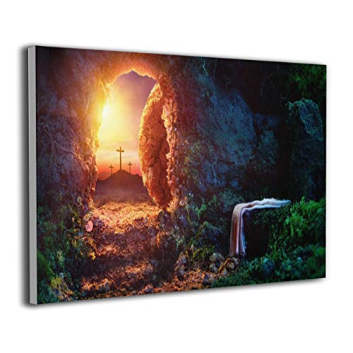 Song Art Canvas Wall Art Prints Sunrise Tomb Jesus Christ Jesus Easter Tomb Cross -Photo Paintings Contemporary Home Decoration Giclee Artwork-16x20 Inch Ready to Hang