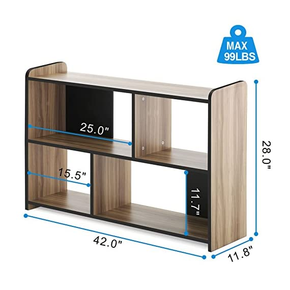 FITUEYES Glass TV Stand for Flat Screen Living Room Storage Shelves Entertainment Center - 【Multifunctional Design】This TV stand is perfect for TVs up to 55 inches, hold up to 150 Ibs tv and you can also put your photo frame and little plant on the top. And 4 open shelves with big capacity 【Classic Appearance】The black wood grain and simple lines on this Fitueyes TV cabinet make this TV stand look classic and elegant. It can be not only used as TV stand, also perfect for sofa table, hallway Table, entry table, entertainment center, media stand, storage console table, etc. 【Easy To Clean】Constructed of high quality material, our TV stand is more sturdy and durable for more years to use. And clean surface with a soft cloth makes your life more simple and convenience - tv-stands, living-room-furniture, living-room - 51XlW2yUpiL. SS570  -