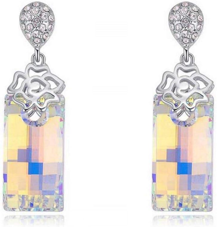 BinLZ Pendientes de Cristal de Jade Look Retro Exagerados Largos Pendientes Cuadrados Femeninos