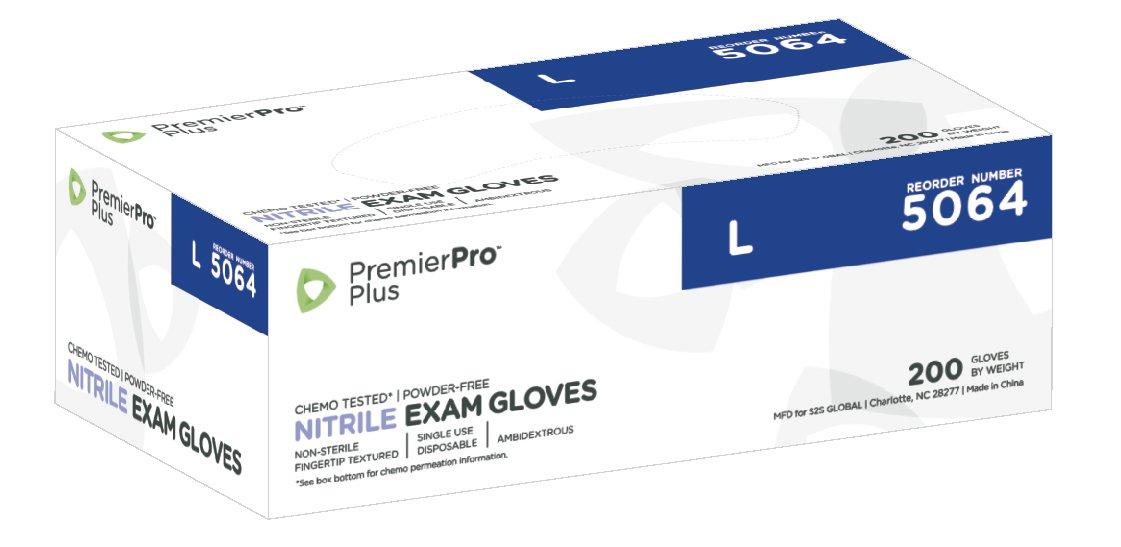 PremierPro 5064 Plus Nitrile Exam Gloves, Large, Periwinkle (200 per box/10 boxes per case)