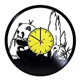 RomanticStuffStore Giant Pandas Handmade Vinyl Record Wall Clock - Get unique home room wall decor - Gift ideas for boys and girls,friends – Wild Animal Silhouette Unique Modern Art