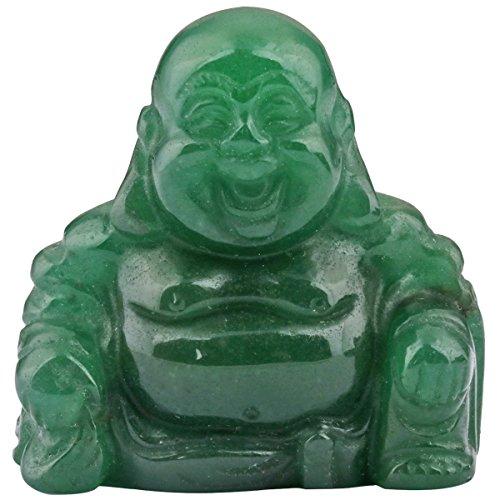 SUNYIK Green Aventurine Hand Carved Happy Buddha Statue Pocket Specimen Sphere Figurine Decor 1.5