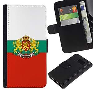 KLONGSHOP // Tirón de la caja Cartera de cuero con ranuras para tarjetas - Cresta de la bandera MAJESTIC - Samsung Galaxy S6 //