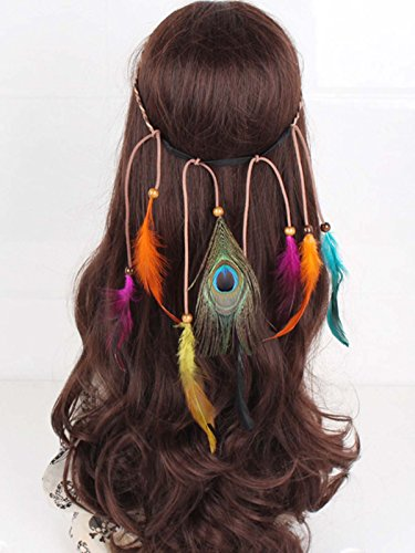 Brazilian Showgirl Costume (LittleB Indian Multi-colored Feather Headband Peacock Feather headpiece for women and girls.)