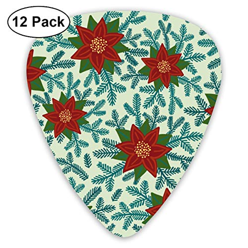 Poinsettias Small Medium Large 0.46 0.73 0.96mm Mini Flex Assortment Plastic Top Classic Rock Electric Acoustic Guitar Pick Accessories Variety Pack