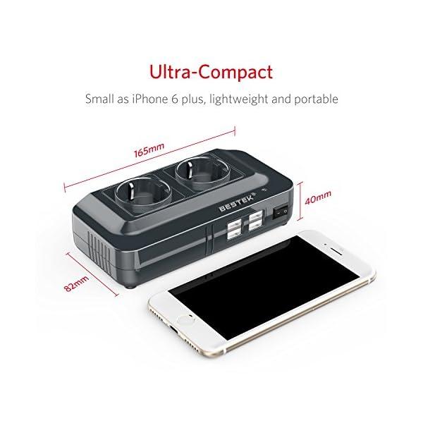 51XlX0bNytL BESTEK 200W KFZ Spannungswandler 12V auf 230V Wechselrichter mit 2 Steckdosen und 4 USB Autoladegerät inkl…