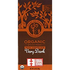 Equal Exchange Organic Very Dark Chocolate, 2.8-Ounce (Pack of 6) 51 Contains 6 packs of 2.8 oz Very Dark Chocolate TASTE: Rich Dark Chocolate Bar Very Dark 71% Cacao.  Vegan, Soy & Gluten Free Crafted Soy & Gluten Free
