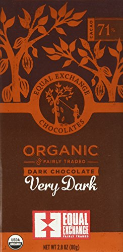 Equal Exchange Organic Very Dark Chocolate, 2.8 Ounce, Pack of 6 1 Contains 6 packs of 2.8 oz Very Dark Chocolate TASTE: Rich Dark Chocolate Bar Very Dark 71% Cacao.  Vegan, Soy & Gluten Free Crafted Soy & Gluten Free