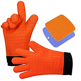 CoolFriend Silicone Cooking Gloves (Orange) - Heat Resistant Kitchen Oven Mitts - Insulated Pot Holders with Non-Slip Grip - Stove, BBQ Grill