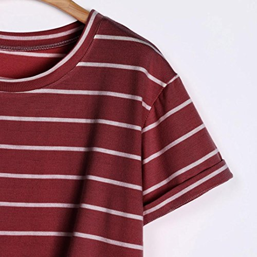 Rond Ample Col Blouse Rouge Angelof Top Courtes Rayes A avec Menott Manches Fille Court Ado Shirt t T Haut Knot OOpqBvPxw