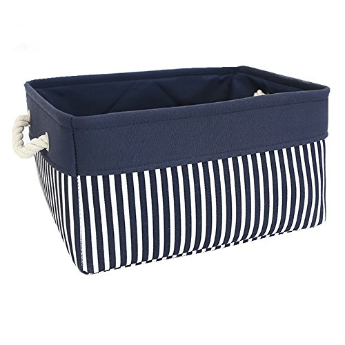 TcaFmac Small Nautical Basket Decorative Fabric Storage Basket Bin, Collapsible Canvas Toy Storage Organizer with Rope Handles for Shelves,Baby Nursery Laundry Basket 12(L) x 8(W) x 5(H) inches by TcaFmac