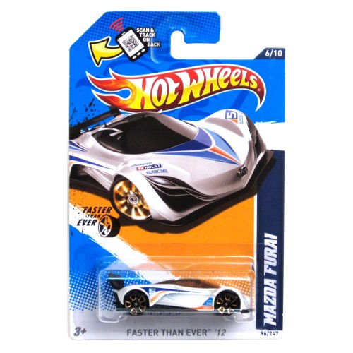 Hot Wheels 2012 096 Collector # 96 / 247 Mazda Furai White FTE Faster Than Ever Wheels on Scan And Track Card (Diecast Mazda Furai compare prices)