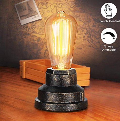 Boncoo Touch Control Table Lamp Vintage Desk Lamp Small Industrial Touch Light Bedside Dimmable Nightstand Lamp… 4