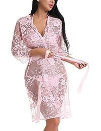 cd30f80f13 Women Lace Kimono Robe Babydoll Lingerie Chemise Sexy Sleepwear · FasiCat