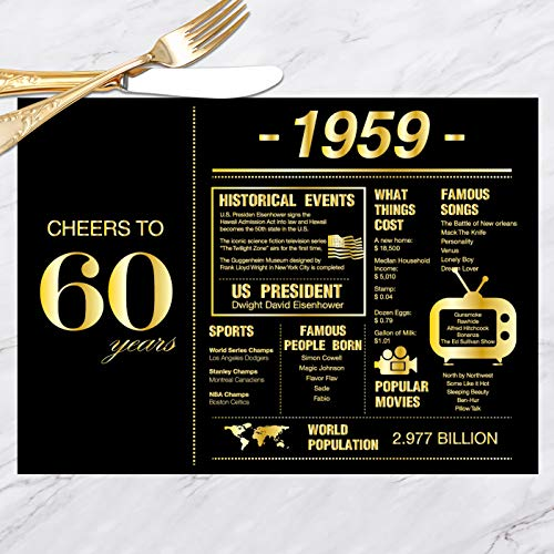 60th Birthday Placemats Decorations for Women or Men | 1959 Sign | 60th Anniversary Decorations | 60 Years Wedding Anniversary Decorations | Sixty Party Table Decorations | Set of 30]()