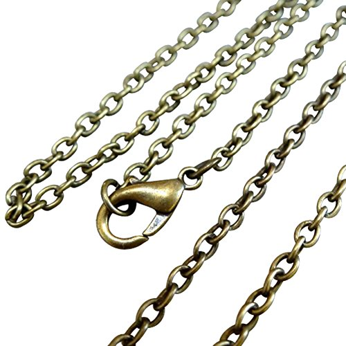 2pc Steampunk Bronze Tone Lobster Clasp Chain Necklace 2x3mm 18