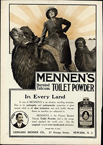 Mennen's Toilet Powder Woman Camels Egypt Pyramids 1911 Harper's vintage print