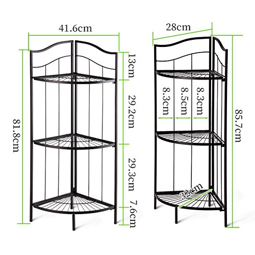 LIANGLIANG Iron Corner Flower Rack Pot Shelf Plant Ladder Floor Display Stand Metal 3-Tier Folding Indoor Living Room Balcony Black, 41.63285.7cm by LLDHUAJIA (Image #2)