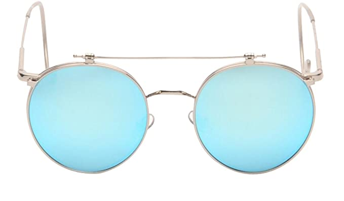 JYR Unisex Fashion Retro Tide Flip Up Double Layers Round Sunglasses - Golden Frame / GreyLens 1KJyV