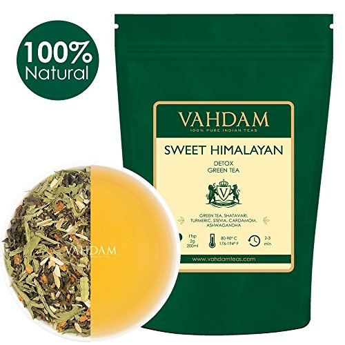 VAHDAM, Sweet Himalayan Detox Green Tea Loose Leaf (100 Cups) |100% NATURAL DETOX TEA | Green Tea Leaves,Stevia, Turmeric,Shatavari,Cardamom,Ashwagandha |Brew as Hot Tea or Iced Tea |3.53oz (Set of 2)