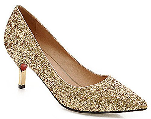 IDIFU Women's Glitter Sequined Pointed Toe Low Top Slip On Stiletto Kitten Heels Pumps Shoes Gold 9 B(M) US - Gold Shoes Wide