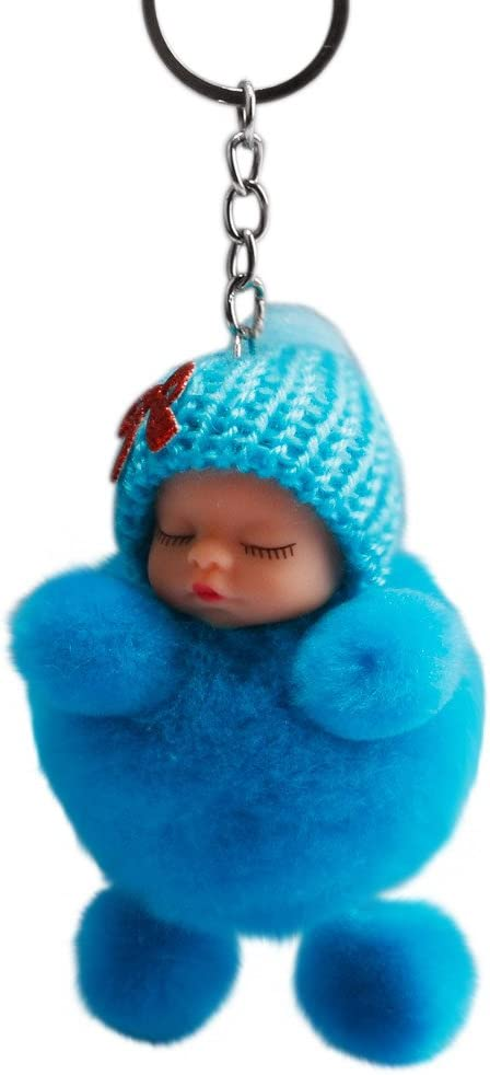 Smdoxi/_toys Plush Toy Doll Pillow Hand Puppets Soft Toys Baby Toddler Toys Rattles Plush Rings Play Figures Cute Sleeping Baby Bowtie Fluffy Pompom Fur Plush Doll Keychain Keyring Key Ring