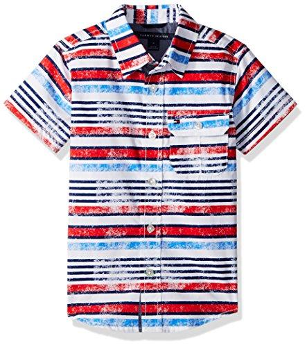 Tommy Hilfiger Boys' Big Printed Stripe Short Sleeve Shirt, White, Large