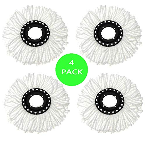 Replacement Mop Heads for Spin Mop,Easy Ring Spin Mop Refill,Mr Clean Spin Mop Head Refill,Round Mop Head Refills,4 Pack Spin Mop Stainless Steel Refills,The Revolution Microfiber Spin Mop Refill