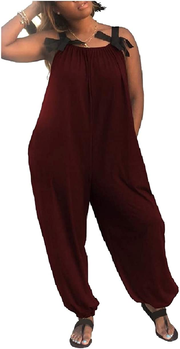 Losait Women Relaxed Bow Palazzo Lounge Solid Colored Jumpsuit Romper