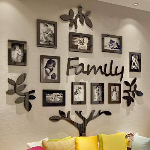 CrazyDeal Collage Picture Frames Family Tree 3D Wall Decor with 10 Openings Photo Frame for Living Room Home