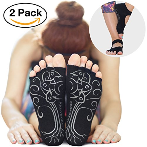 2 Pairs ♥ RAE YOGA Barre Pilates Non Skid Bella Half Toe Grip Socks ♥ Bamboo Barefoot Feel (S-M (5-8), Black)