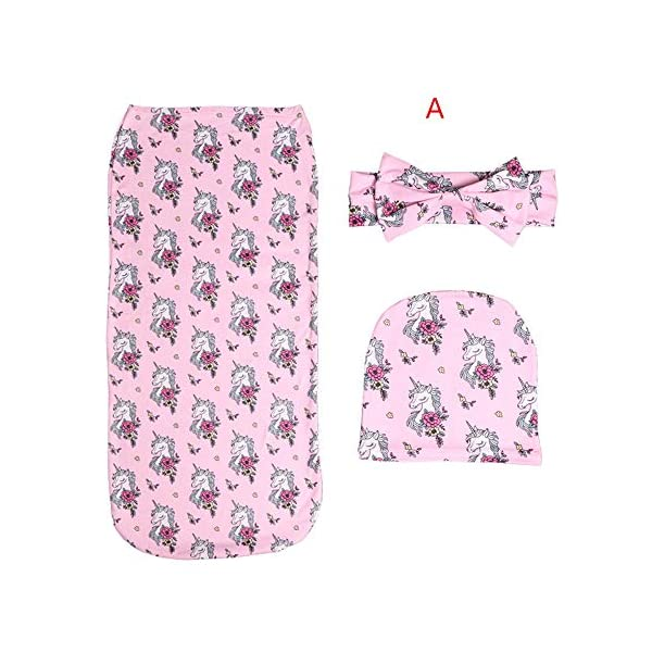 3Pcs Yan Shao Newborn Baby Swaddling with Headbands Hats Infant Sleepsack Set (0-3 Months Baby) (A)
