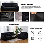 WOWTOY Sofa Cover 1 2 3 4 Seater Slip Cover Sofa Couch Stretch Elastic Fabric Sofa Protector (3 Seater, Black)