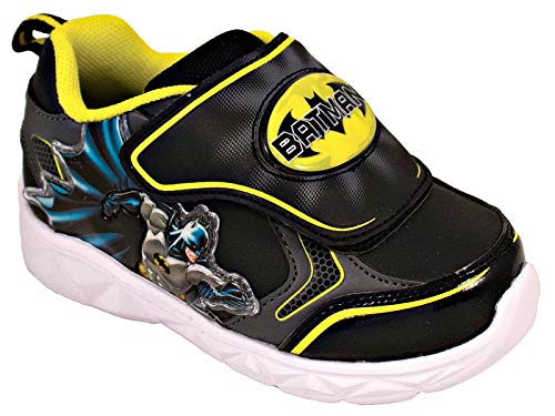 Image of Favorite Characters Batman Lighted Athletic Shoes (Toddler/Little Kid) Black/Yellow (10 M US Toddler)