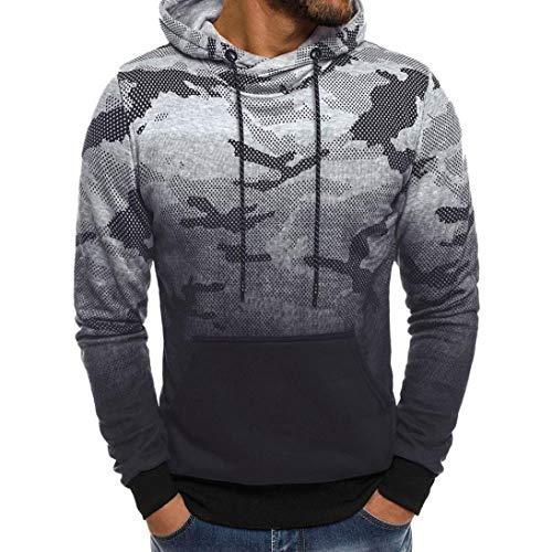 kaifongfu Hoodie Tops,Men Camouflage Sweater Outwear Tee Tops