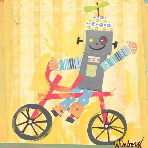 Oopsy Daisy biking robot stretched canvas wall art by winborg sisters, 14 by 14-inch (Biking Robot)