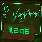 Denshine® LED Digital Fluorescent Message Board Alarm Clock Temperature Calendar Timer 4 USB Port Hub Highlighter (Green)