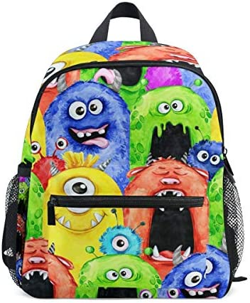 (fohoo) 子供リュック キッズバックパック おしゃれ かわいい モンスター 虹色 カラフル 男の子 女の子 軽量 大容量 3-8歳 保育園 幼稚園 小学生 入園・入学祝い ハーネス付き