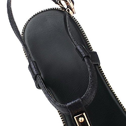 AgooLar Mujeres Hebilla Mini Tacón Microfibra Tachonado Puntera Abierta Sandalia Negro