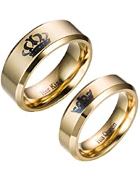 Her King and His Queen 14K Gold Plated Titanium Stainless Steel Ring, Promise Wedding Band Ring Anniversary Engagement