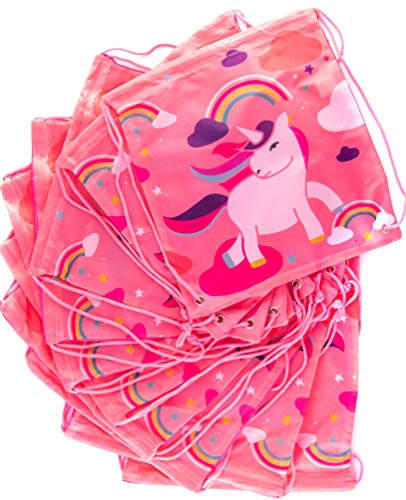 (Unicorn Backpack Party Favors Bags 10 Pack – Kids Love! High Quality Drawstring Gift Bag Party Supplies)