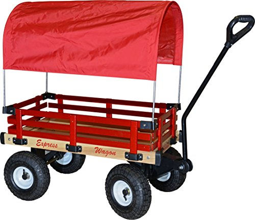 Millside Industries Wooden Express Wagon Full Red Canopy, 16-Inch x 34-Inch