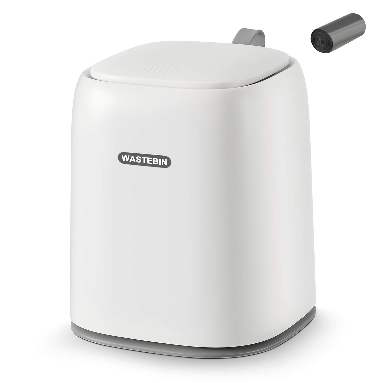 SUBEKYU 0.3 Gal Mini Desktop Trash Can with Lid for Office Countertop, Small Wastebasket for Coffee Table/Desk/Tabletop, Tiny Garbage Bin, Plastic, White