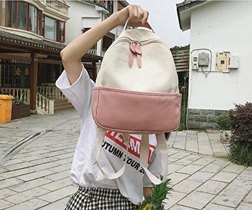 School Bag Meaeo Backpack Simple Bag Pink Travel Rose Bag Canvas HtqqRnw6I