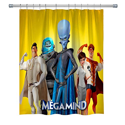 Elite ETSPY Megamind Shower Curtains, Metro Man Roxanne Waterproof Polyester Fabric Shower Curtain for Bathroom, Decor Shower Curtain Set with Hooks, 71X 71 in