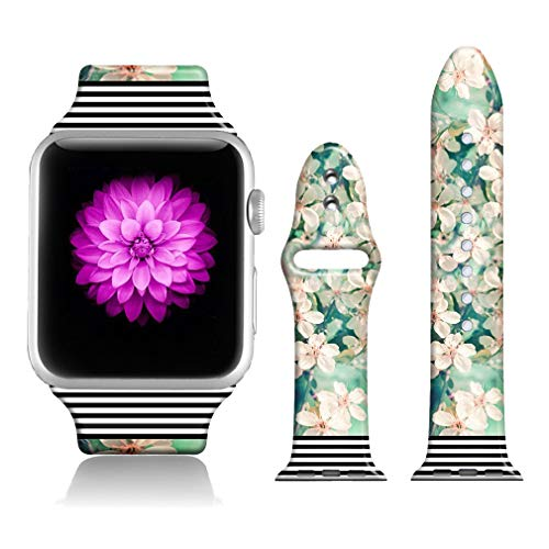 FTFCASE Sport Bands Compatible with Apple Watch 42mm/44mm Black Stripes - Plum Blossom, Flower Printed Soft Silicone Strap Replacement for iWatch 42mm/44mm Series 4/3/2/1 Women Men