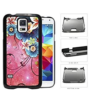 Cool Pink Nebula with Blue Nebula Flowers Samsung Galaxy S5 SM-G900 Hard Snap on Plastic Cell Phone Cover